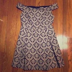 Off the Shoulder Black-n-Cream Semi-Formal Dress